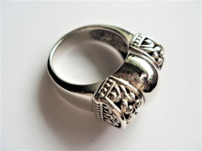 Vintage Sterling Silver Open Filigree Scroll Work Design Dome Ring Size 7