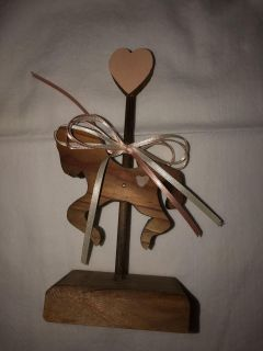 Wooden Carousel Horse and Matching Wooden Bear; both with Peach Wood Hearts and Peach and Creamed Color Ribbon-$8.00 for the set