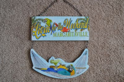 """Margaritaville """"Living for the Weekend"""" Parrot wood hanging wall sign display"""
