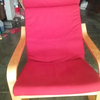 IKEA RED BENT WOOD CHAIR