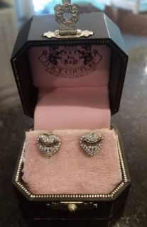 Juicy Couture Heart and Rhinestone Earrings - Posts - In original box
