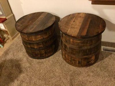 Set of 2 Handcrafted Bourbon Barrel side tables