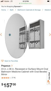 24 in. x 36 in. Recessed or Surface-Mount Oval Bathroom Medicine Cabinet with Oval Beveled Mirror