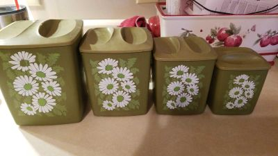 Canister set goes well with Soring Blossoms Pyrex