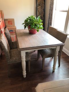 Table and chairs, tools, distressed mirrors, multiple quality items.