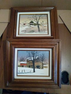 H.HARGROVE PRINTS 2 WOOD FRAMES