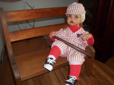 Baseball boy with Bat & Bench