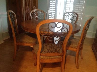 Solid wood table 5 chairs