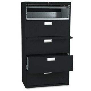 Five-drawer Lateral File Wroll-out  Posting Shelf 36w Black