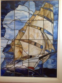 Stained glass clipper ship