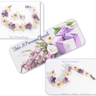 Gemstone cluster Bracelet free matching earrings