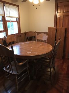Wooden kitchen table with 2 leaves,6 chairs