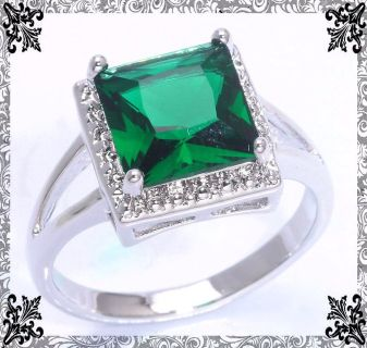New - Green Quartz Princess Cut Ring - Size 7