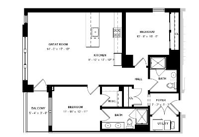 Old Town Collection 2bd/2bth with Private Balcony, Facing Wells Street, In Unit W/D, Roof Deck