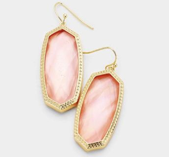 Brand New Womens Pink Abalone Drop Earrings in Gold