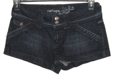 Refuge Denim Jean Short Shorts w Flap-Button Accent Pockets Womens 7 Juniors