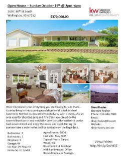 Open House 10/15 from 2pm to 4pm at 360 E 80th St S Wellington KS