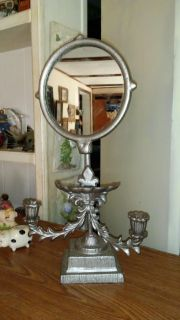 Heavy metal vanity adjustable candle holder / jewerly tray mirror combo