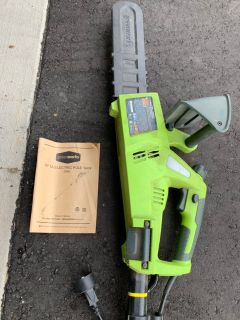 Greenworks electric chain saw with extension pole