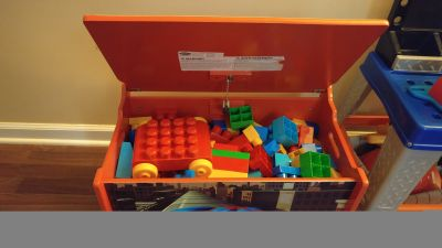 Toy box full of mega blocks