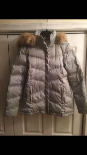 New York & Company silver detachable hooded down coat, size S