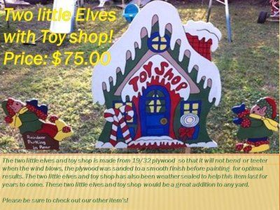 Two Elves with Toy shop yard decor