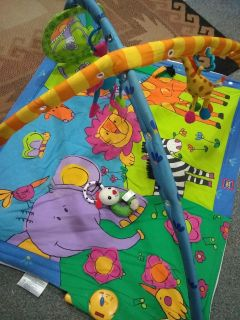 Baby play mat, toys and mirror on it and plays music!