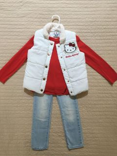 Size XS (4) Gap skinny jeans, Hello Kitty vest and red long sleeved T