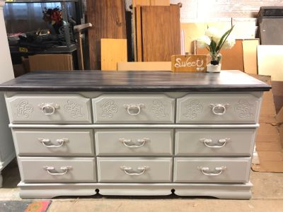 """GORGEOUS Dresser with 9 drawers- 64""""x33""""x18.5""""- refinished light grey/washed top- Wood-185$"""
