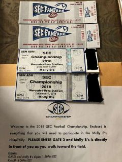 2 SEC Championship Tickets Hospitality Package Lower Level