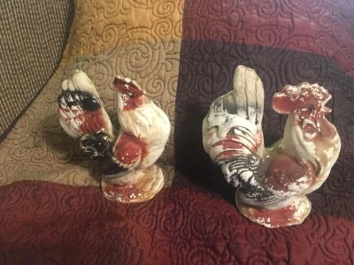 Rustic Rooster & Chicken Figures 8 tall by 7 wide Swap Only
