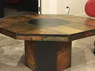 Set of 3 heavy slate tables; 2 end tables and 1 coffee table; excellent condition