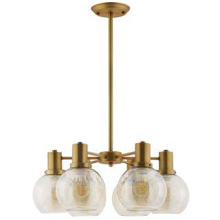 New 6 Globe Amber Glass & Brass Pendant Lamp