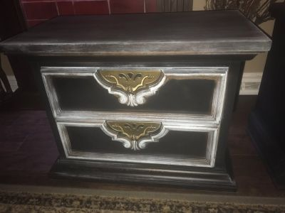 Solid wood, heavy black and patina side table, made in the USA!