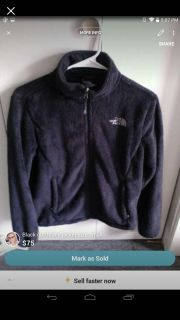 North face furry jacket black size small