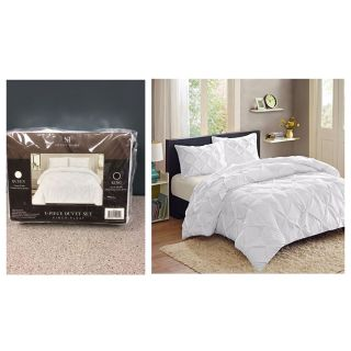 Luxury 3 Piece Pinch Pleat Pintuck Polyester Duvet Cover and Pillow Sham Set, King White
