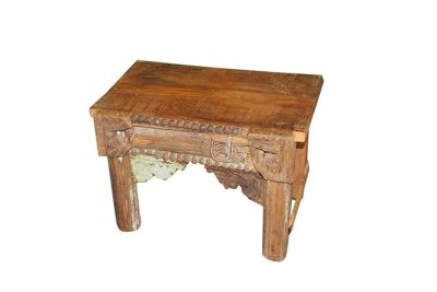 Antique Indian Coffee Table Vintage Small Wooden Bench End Table Hand Carved Stools