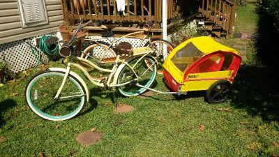 "Brand new Huffy(panama jack edition)26""bike w/ trailer for 2 kids"