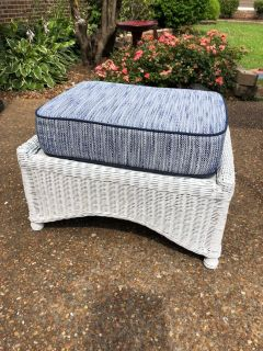 White wicker ottoman w New Cushion