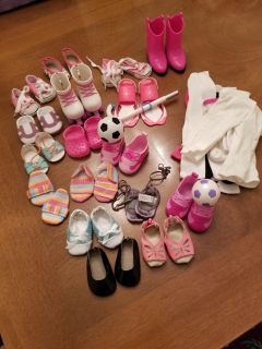 """18"""" doll shoes, socks and tights"""