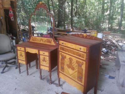 antique vanity/dresser and chest ot drawers