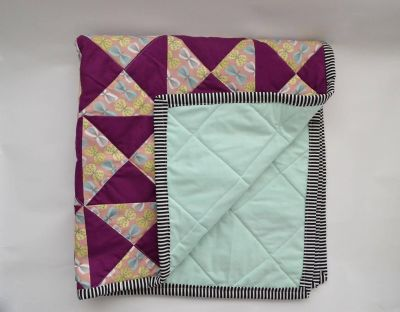 Handmade Plum and Mint Baby Quilt
