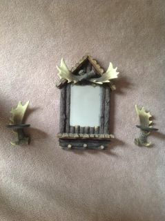 Moose mirror with hooks and two candle holders