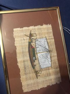 vintage 20th century painting on papyrus paper from Egypt