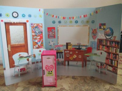 American Girl Doll School / Classroom Backdrop and Locker