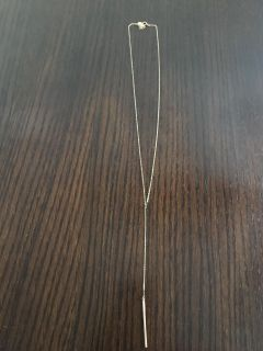 Gold plated lariat bar necklace