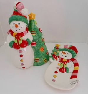 FITZ & FLOYD Snowflake & Jake COOKIE JAR and CANDY DISH