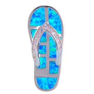 New - Flip Flop Blue Fire Opal Pendant (Includes a chain)