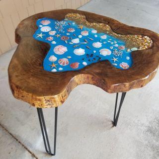 Black walnut live edge side table