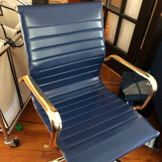 Navy blue and gold office desk chair